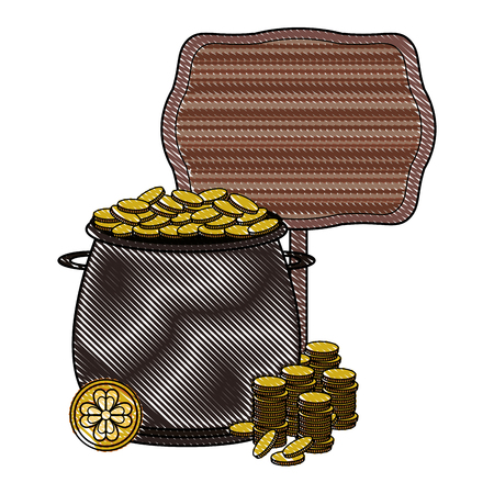Pot with coins and blank wooden sign vector illustration graphic design Illustration