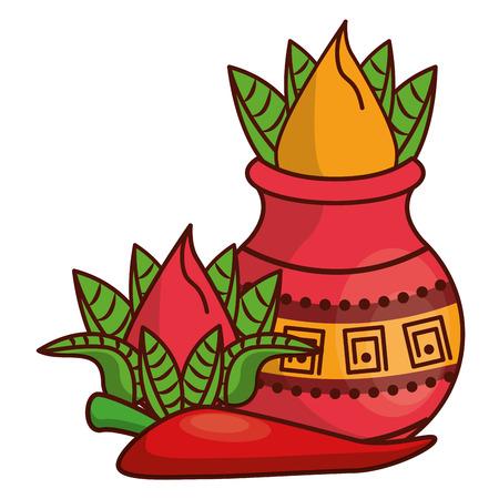 Ugadi indian flowers and chilli cartoon elements vector illustration graphic design 일러스트