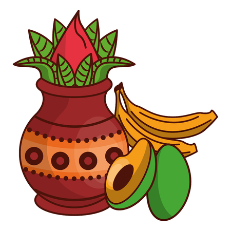 Ugadi indian jar and fruits cartoon elements vector illustration graphic design
