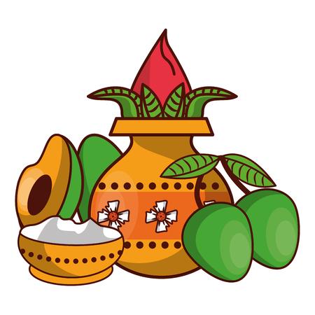 Ugadi indian jar and fruits cartoon elements vector illustration graphic design