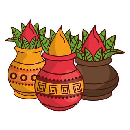 Ugadi indian jars and flowers cartoon elements vector illustration graphic design