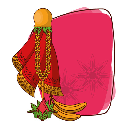 Ugadi indian frame with cartoons vector illustration graphic design