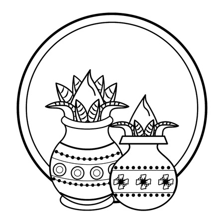 Ugadi indian jars in flowers elements vector illustration graphic design
