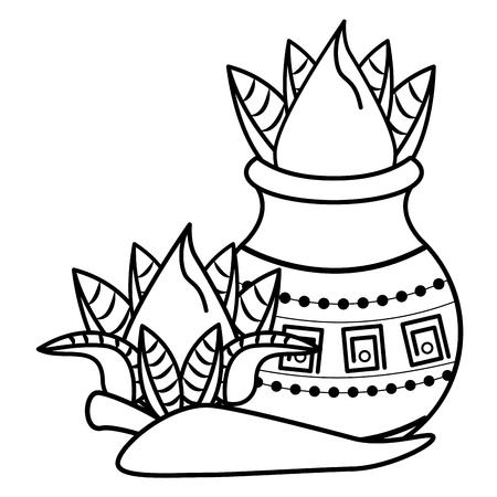 Ugadi indian flowers and chilli cartoon elements vector illustration graphic design Ilustração
