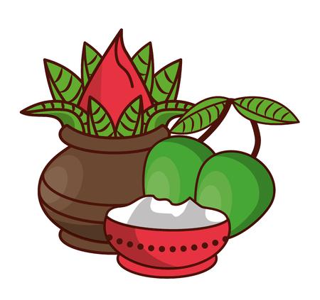 Ugadi indian jars and mangos elements vector illustration graphic design 일러스트