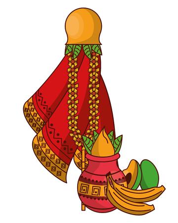 Ugadi indian jars and fruits elements vector illustration graphic design