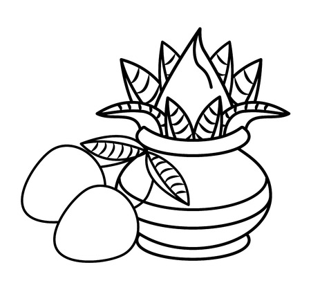 Ugadi indian jar and mangos elements vector illustration graphic design