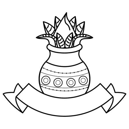 Ugadi indian fruits emblem with blank ribbon banner vector illustration graphic design 일러스트