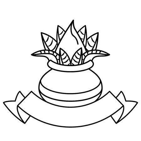 Ugadi indian fruits emblem with blank ribbon banner vector illustration graphic design Ilustração