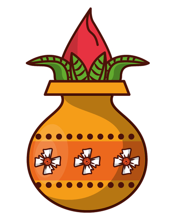 Ugadi indian jar with flower vector illustration graphic design 일러스트