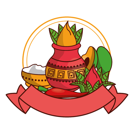 Ugadi indian fruits emblem with blank ribbon banner vector illustration graphic design