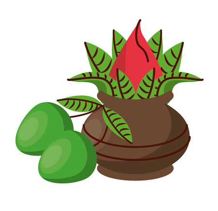 Ugadi indian jar and mangos elements vector illustration graphic design