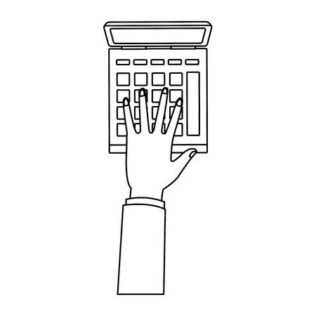 Ręka za pomocą kalkulatora wektor ilustracja projekt graficzny