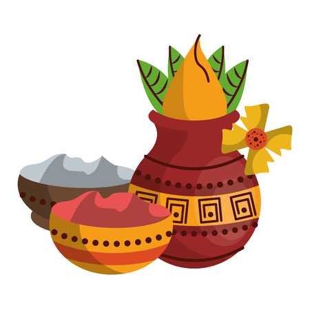 Ugadi indian jars elements vector illustration graphic design