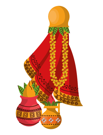 Ugadi indian cartoon elements vector illustration graphic design