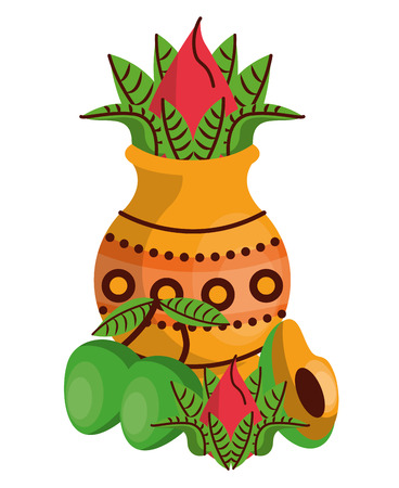 Ugadi indian jar with flower and fruits elements vector illustration graphic design