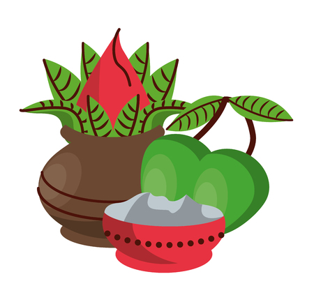 Ugadi indian jars and mangos elements vector illustration graphic design Illustration