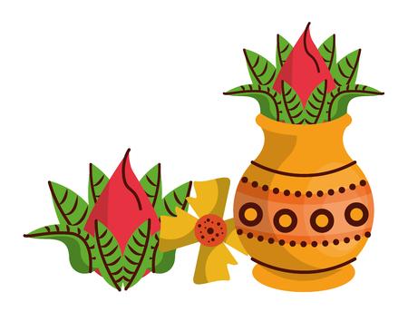 Ugadi indian jar and flowers elements vector illustration graphic design