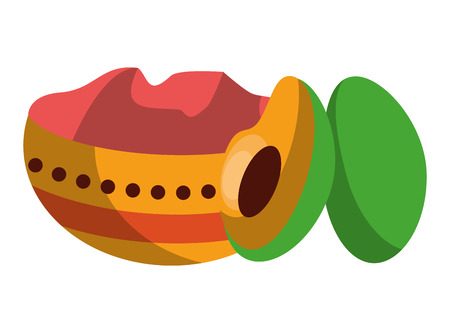 Ugadi indian elements with avocados vector illustration graphic design
