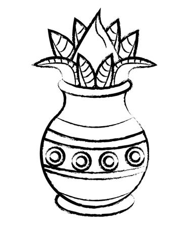 Ugadi indian jar with flower vector illustration graphic design Ilustração