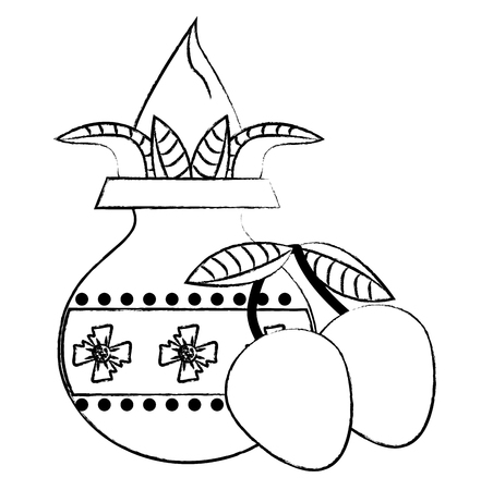 Ugadi indian jar with flower and mangos elements vector illustration graphic design Illustration