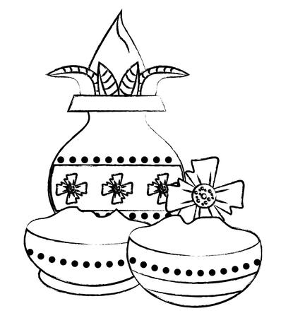 Ugadi indian jar and flowers cartoon elements vector illustration graphic design Illustration