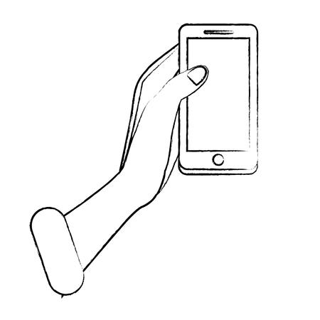 Hand holding smartphone vector illustration graphic design