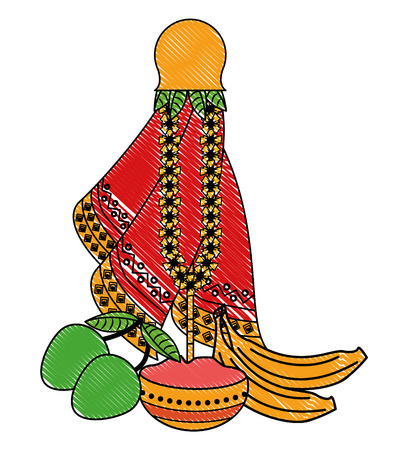 Ugadi indian jar and fruits elements vector illustration graphic design