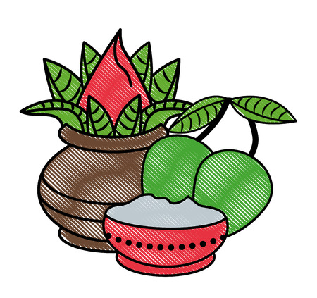 Ugadi indian jars and mangos elements vector illustration graphic design Illustration