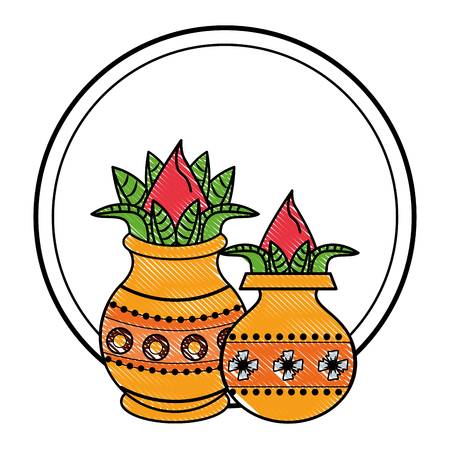 Ugadi indian jars in flowers elements vector illustration graphic design