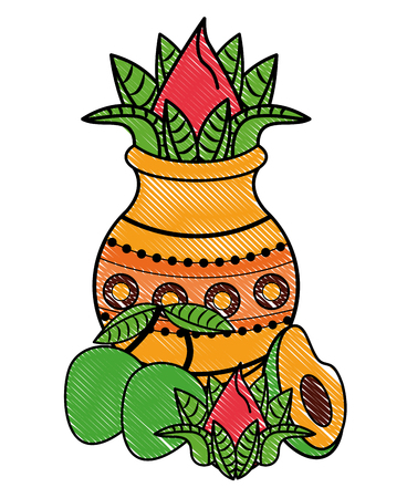 Ugadi indian jar with flower and fruits elements vector illustration graphic design Illustration