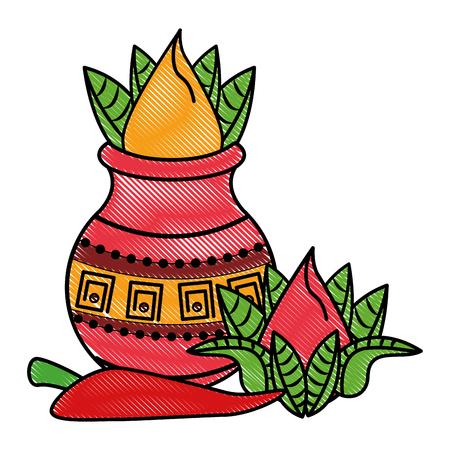 Ugadi indian jar and chilli elements vector illustration graphic design