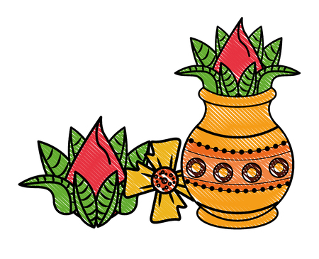 Ugadi indian jar and flowers elements vector illustration graphic design