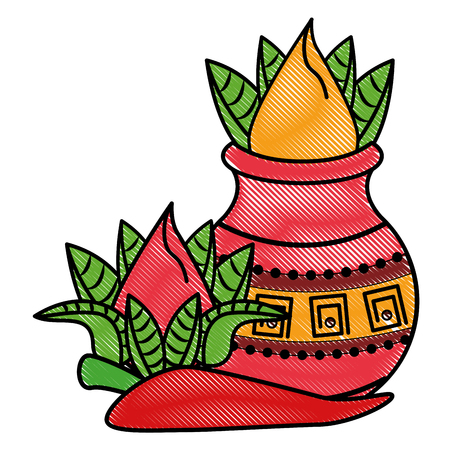 Ugadi indian flowers and chilli cartoon elements vector illustration graphic design Illustration