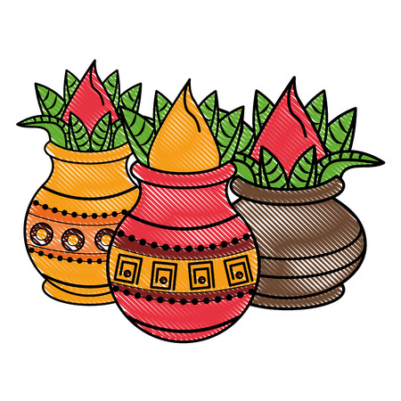 Ugadi indian jars and flowers cartoon elements vector illustration graphic design