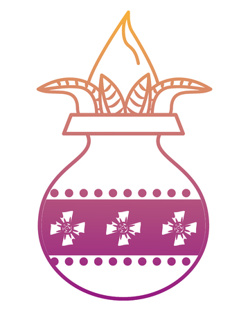 Ugadi indian jar with flower vector illustration graphic design Illustration