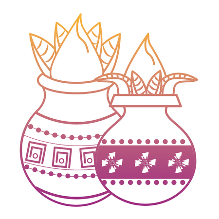 Ugadi indian jars with flowers elements vector illustration graphic design