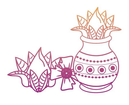 Tarro indio Ugadi y elementos de flores ilustración vectorial diseño gráfico