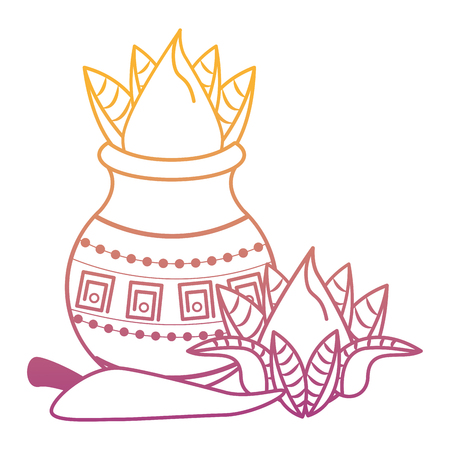 Ugadi indian jar and chilli elements vector illustration graphic design
