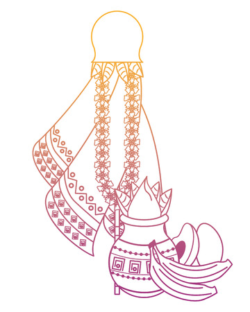 Ugadi indian jars and fruits elements vector illustration graphic design