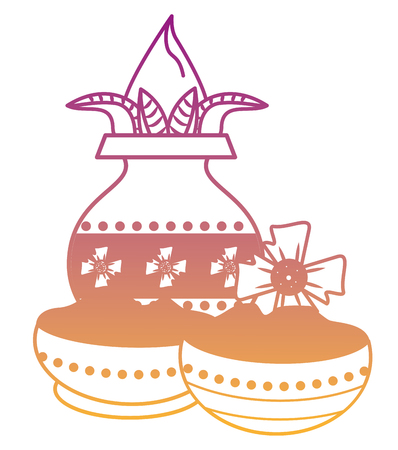 Ugadi indian jar and flowers cartoon elements vector illustration graphic design 일러스트