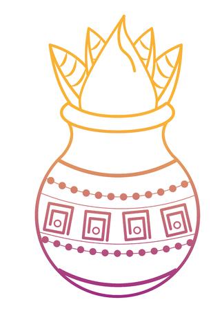 Ugadi indian jar with flower vector illustration graphic design Illustration