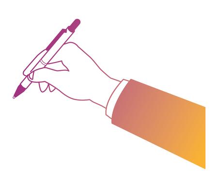 Business hand holding pen vector illustration graphic design