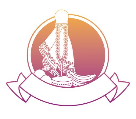 Ugadi indian fruits emblem with blank ribbon banner vector illustration graphic design Illustration