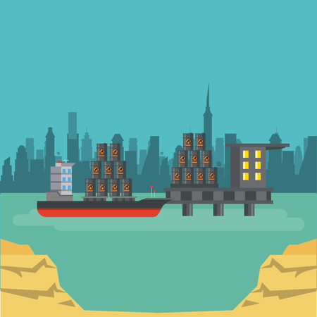 Petroleum plant industry with machinery over cityscape vector illustration graphic design