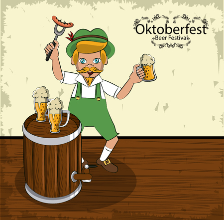 Oktober festival cartoons with bavarian man and beer cartoons vector illustration graphic design