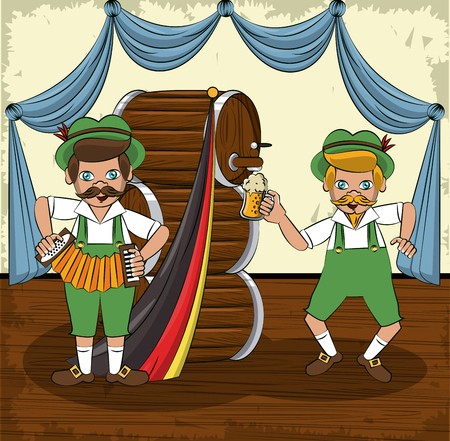 Oktober festival cartoons with bavarian mens and beer cartoons vector illustration graphic design 일러스트