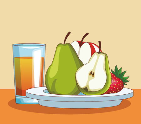 Fruits pears and strawberry with orange juice vector illustration graphic design