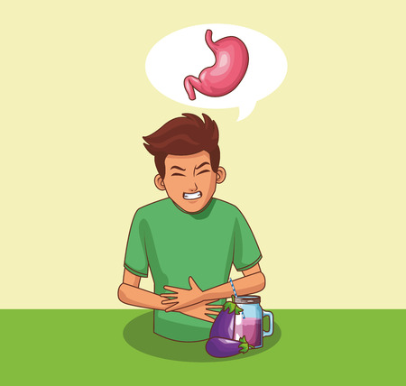 Young man with stomach ache cartoons vector illustration graphic design