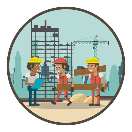 Geometric workers at construction zone cartoons round icon vector illustration graphic design Vetores